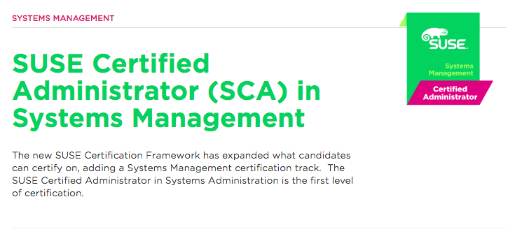 Certificação linux SUSE Certified Administrator (SCA) in Systems Management