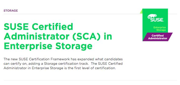 Certificação linux SUSE Certified Administrator (SCA) in Enterprise Storage