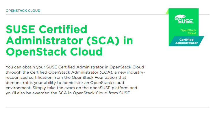 certificação linux SUSE Certified Administrator (SCA) in OpenStack Cloud