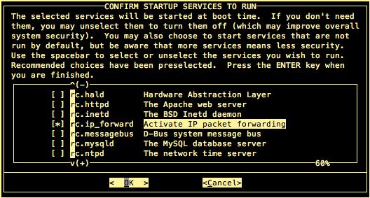 serviços de inicialização de slackware
