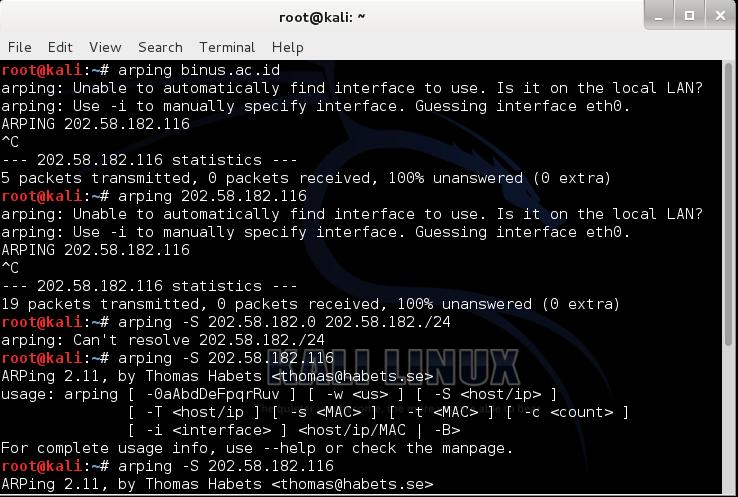 Arping ferramenta para kali linux usada por haking