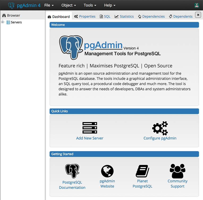 pgadmin interface web