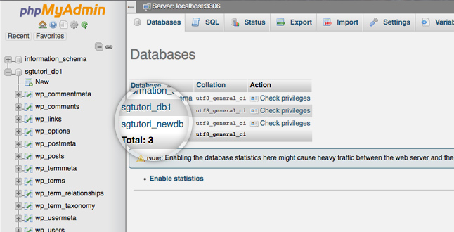 phpmyadmin create data bases